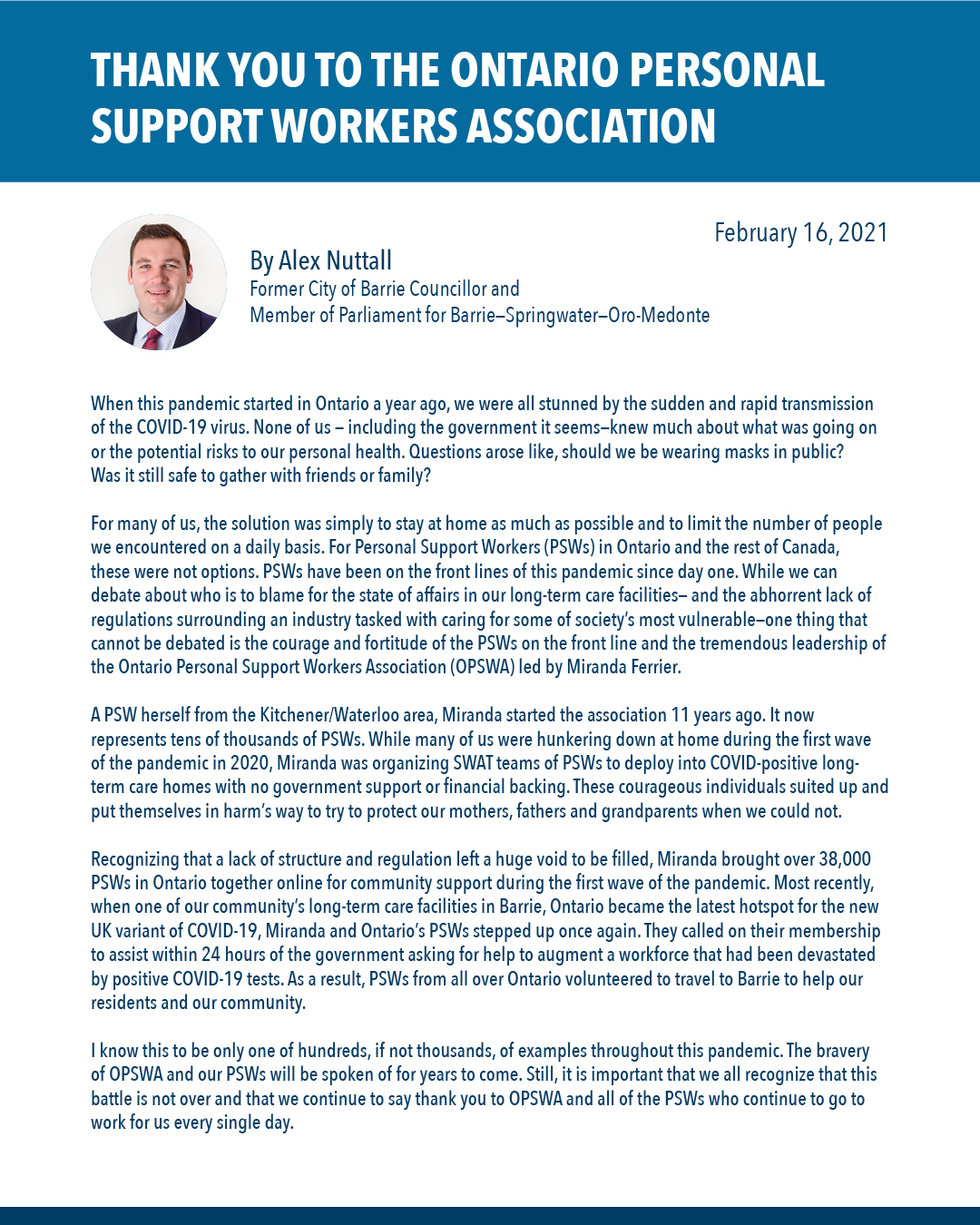 Open Letter from Barrie-Springwater-Oro-Medonte MPP: Thank You To The Ontario Personal Support Workers Association